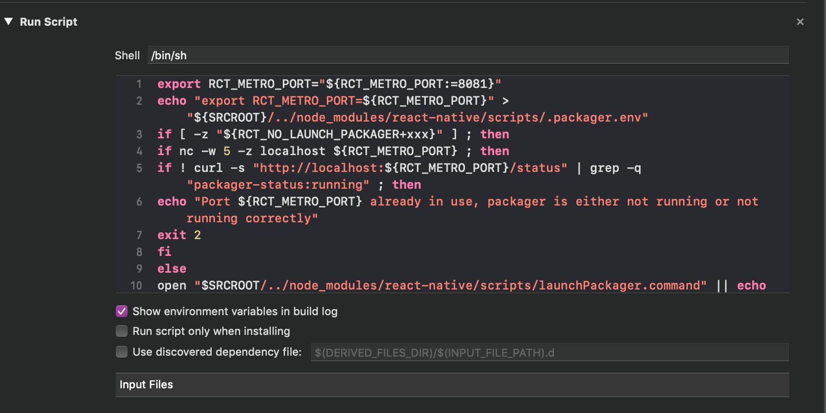 Nueva sección de secuencia de comandos de ejecución