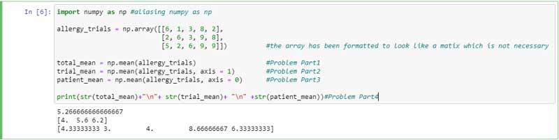 Bloque de código para problemas 1 a 4 y salida mostrada fuera del bloque.