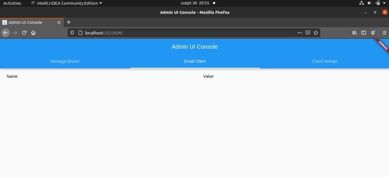 Captura de pantalla de una PC que muestra la consola de administración vacía en Flutter