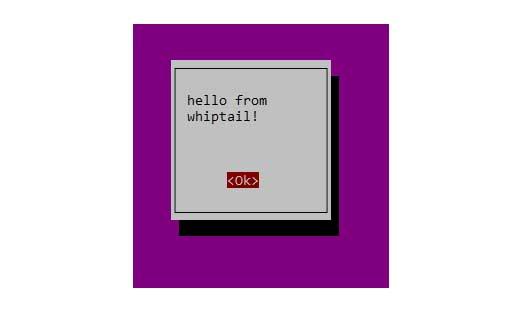 Cuadro de mensaje de whiptail clásico en la terminal.