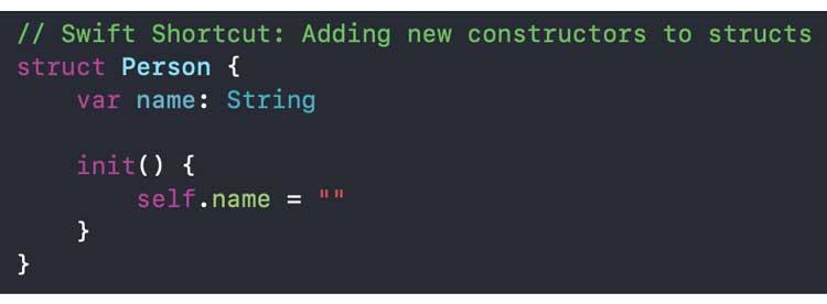 Definir un inicio personalizado dentro de la declaración de la estructura