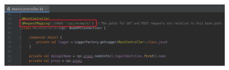 Diferentes puntos finales de la API