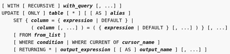 Documentación de la consulta de actualización de PostgreSQL