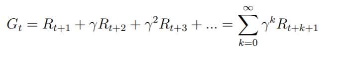 Donde R es la recompensa inmediata y γ se conoce como factor de descuento.