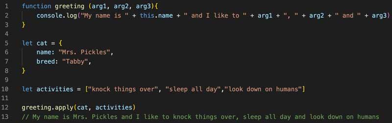 El mismo resultado que el método `.call ()` pero menos código en la invocación