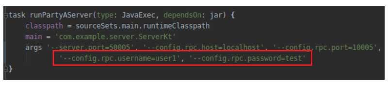 El servidor web utiliza un usuario / contraseña RPC. user1/test