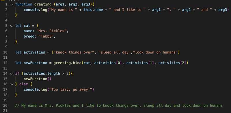 El uso de `bind ()` nos permite la flexibilidad de llamar a funciones vinculadas en un momento posterior o cuando se cumple una determinada condición.