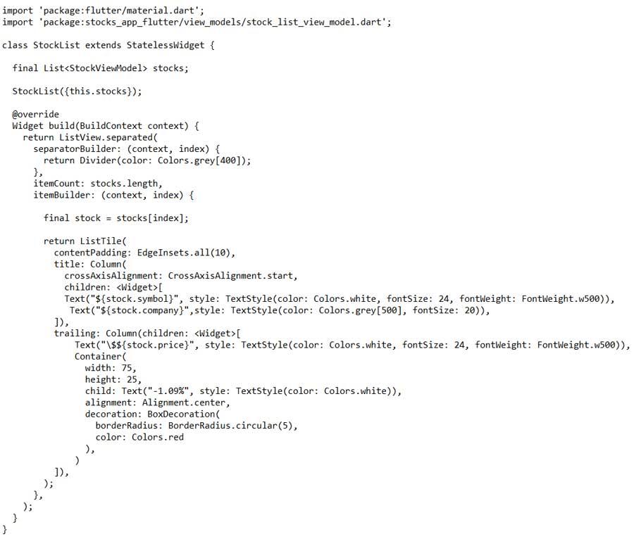 Implementación del StockListwidget