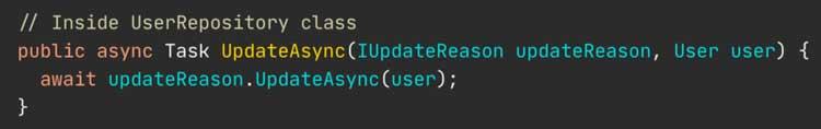 Implementación simplificada del método UpdateAsync