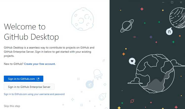 Iniciar sesión en GitHub Desktop