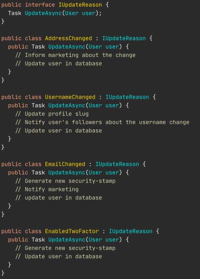 Interfaz UpdateReason y sus implementaciones concretas