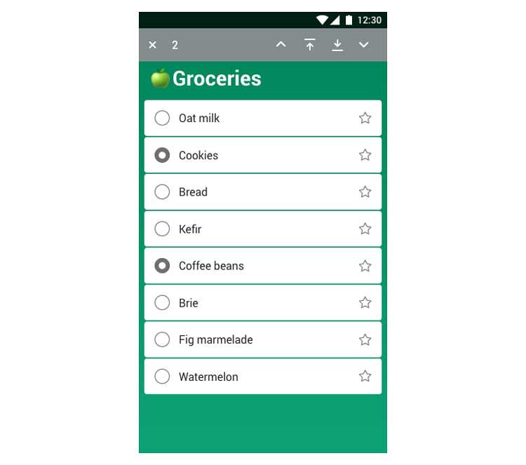 Maqueta de una lista de la compra con algunos elementos seleccionados y controles para mover elementos en el modo de acción superior