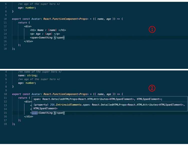 Mejor inteligencia para definiciones JSX y JSX