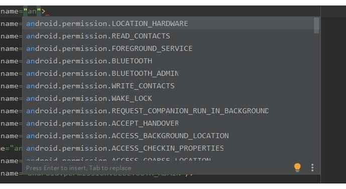 Menú desplegable en el archivo de manifiesto que muestra todos los permisos.