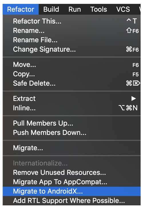 Opción Migrar a AndroidX en el menú Refactor