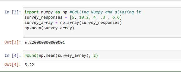 Programa de Python para importar numpy, crear una matriz de la lista y luego encontrar la media usando el método np.mean