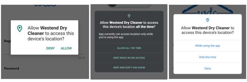 Puede ver la diferencia en la ventana de permisos de Android 9-10-11
