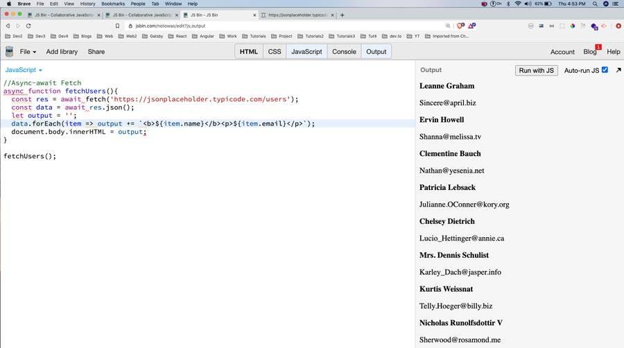Recorre los datos y los muestra en el navegador