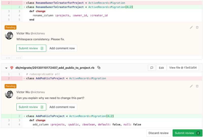 Revisión del código de Gitlab de las notas de la versión de Gitlab