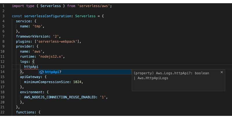 Sugerencia de tipo de VSCode para el archivo de servicio sin servidor.