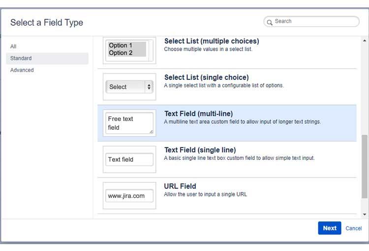 Tipos de campos personalizados disponibles en Jira.
