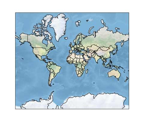 Un mapa del mundo con fronteras.