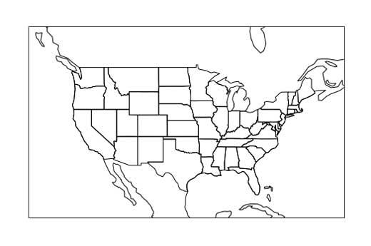 Un mapa simple de los Estados Unidos.
