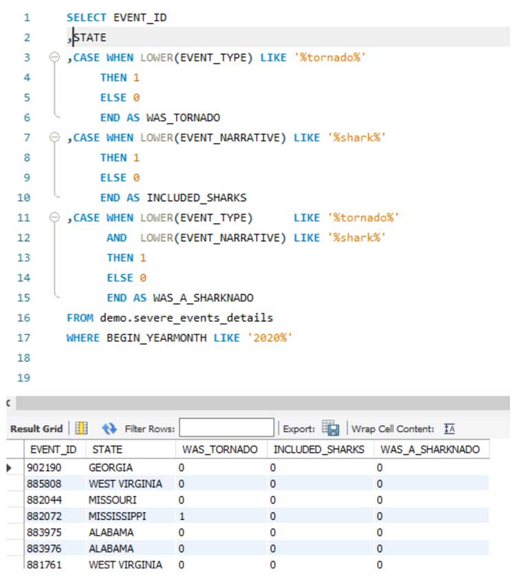 Uso de declaraciones de casos para evaluar datos