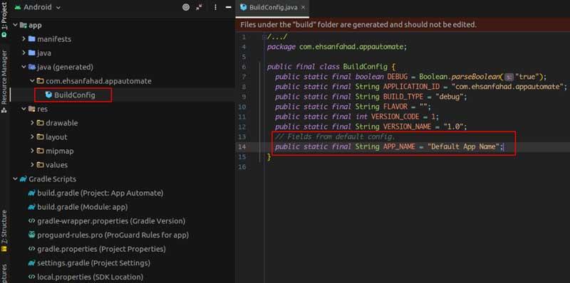 archivo BuildConfig.java que gradle genera automáticamente