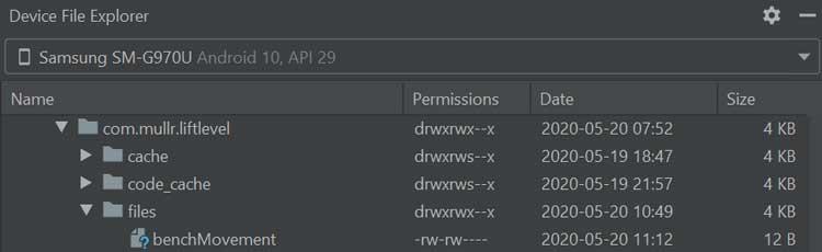 archivos en el Explorador de archivos del dispositivo en Android Studio