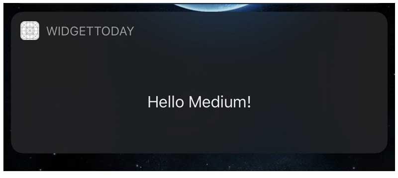 ejecute su aplicación y agregue el widget a su pantalla de hoy para ver cómo se ve