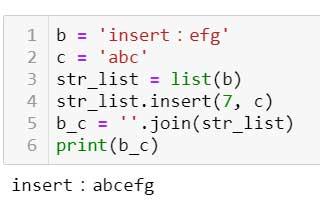 .insert (), combinándolo con el método .join ()