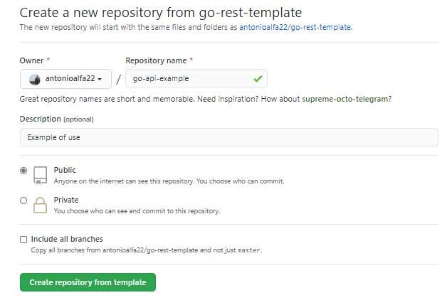 página para crear un nuevo repositorio