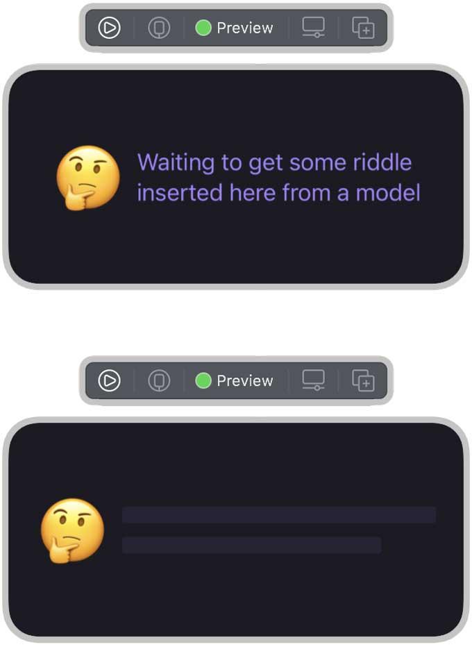 vista previa del widget en el modo de marcador de posición y en el modo normal
